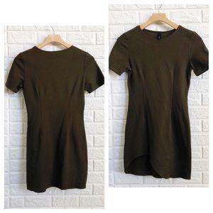 GOJANE moss sage body con asymmetric dress